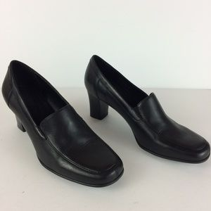 Croft & Barrow Luce Leather Heeled Loafers Sz 6.5